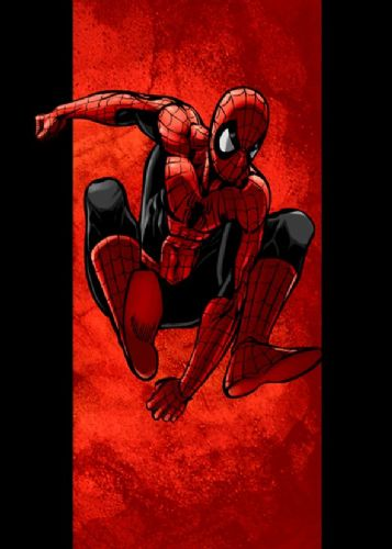 SPIDER MAN - LEAP RED ON BLACK canvas print - self adhesive poster - photo print